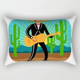 Mexican Mariachi in Desert Circle Retro Rectangular Pillow