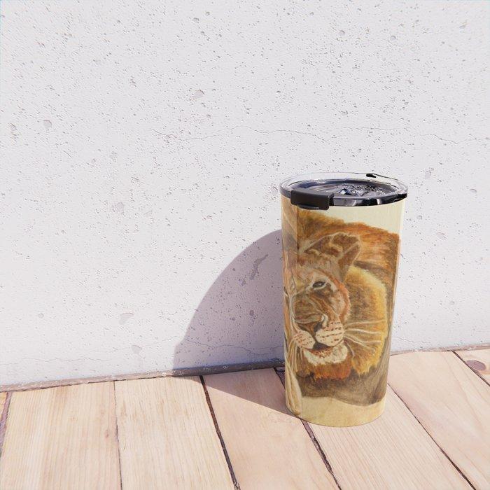Lion Watercolor Travel Mug