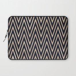 Navy Gold Chevron Pattern Laptop Sleeve