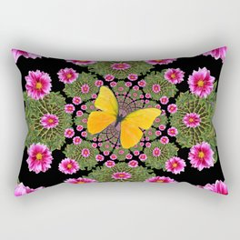 Yellow Butterfly Fuchsia Pink Dahlias Stylized Garden Black Pattern Rectangular Pillow