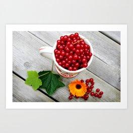 A cup of red currants I Art Print
