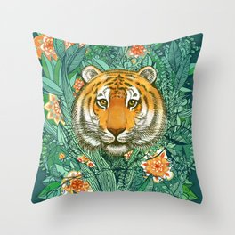Tiger Tangle in Color Throw Pillow
