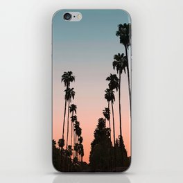 California Sunset // Palm Tree Silhouette Street View Orange and Blue Color Sky Beach Photography iPhone Skin