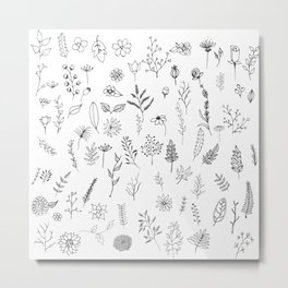 Hand drawn flowers collection Metal Print