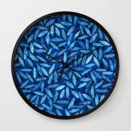 Indigo Botanical Pattern Wall Clock