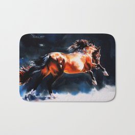 Alive - Exuberant and Powerful Stallion Bath Mat