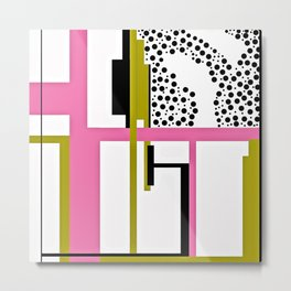 CREATIVE PINK, GREEN AND BLACK PRINT DESIGN Metal Print