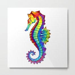 Rainbow Polygonal Seahorse Metal Print