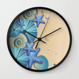 SEA SHELLS ON THE BEACH Wall Clock