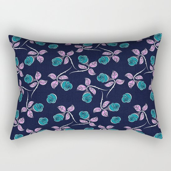 Blue Roses Rectangular Pillow