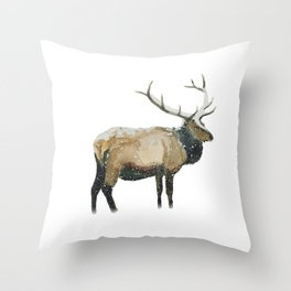Stag in a Snow Storm Throw Pillow