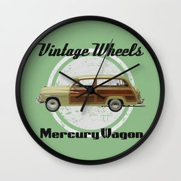 Vintage Wheels: Mercury Wagon (black) Wall Clock