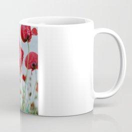 Field of Poppies Against Grey Sky Coffee Mug