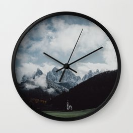 Moody Mountain Church in The Dolomites Wall Clock