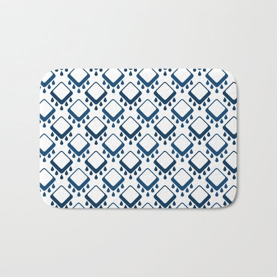 Abstract colorful geometric pattern .Blue and white . Bath Mat