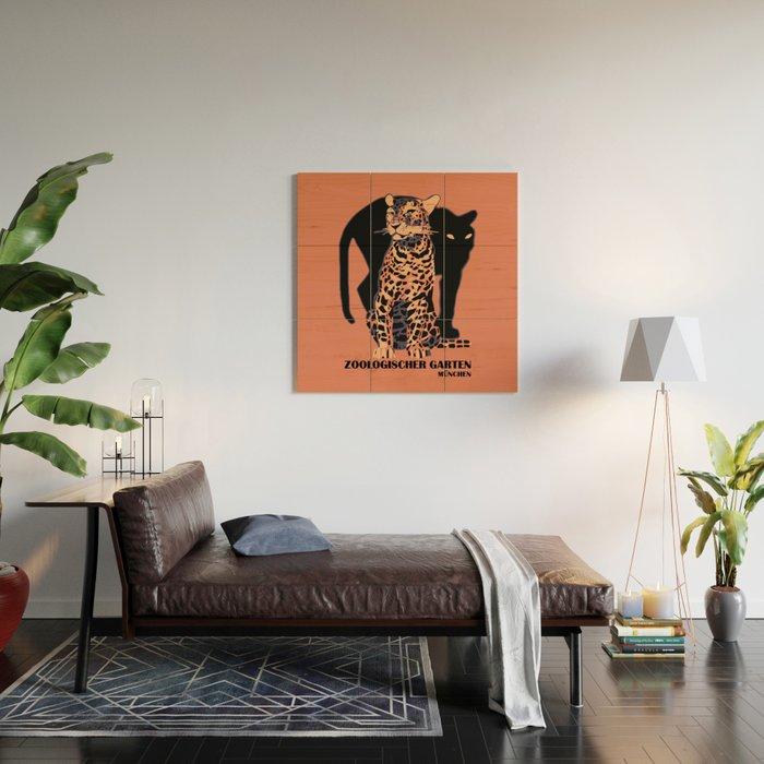 Retro vintage Munich Zoo big cats Wood Wall Art by aapshop  1a3f7774b51ac