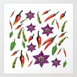 Chili Peppers Botanical Pattern Art Print