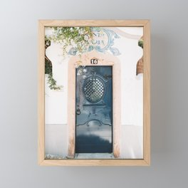 White Portuguese House with Blue Front Door in Cascais, Portugal | Travel Photography | Framed Mini Art Print