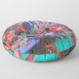 African American Masterpiece, Harlem Block Party by Archibald Motley Floor Pillow