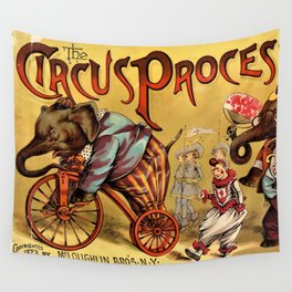 1888 Vintage Circus Elephant Procession Vintage Poster Wall Tapestry