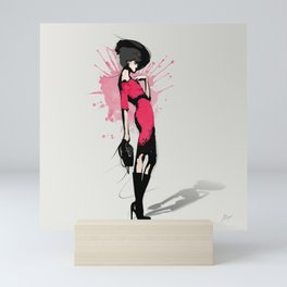 Pink Dress - Fashion Illustration Mini Art Print