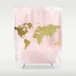 Gold World Map Poster Shower Curtain