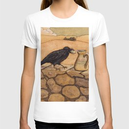 Crow and Pitcher from Aesop's Fables - Necessity is the mother of invention T-shirt