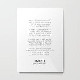 Invictus by William Ernest Henley #minimalist #poem Metal Print