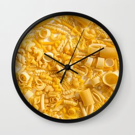 Group of Pasta on White Wall Clock
