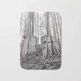 Nurse Stump Pacific Northwest Forest Cedar Trees Sepia Print Bath Mat