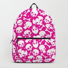Bones and Skulls on Pink Background Backpack