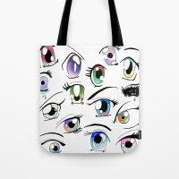 manga Tote Bags featuring Manga Eyes by TAEMI.