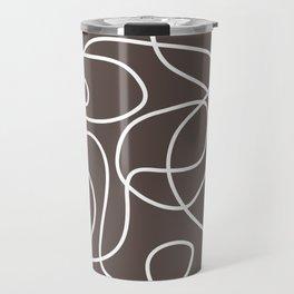Doodle Line Art | White Lines on Brown Travel Mug