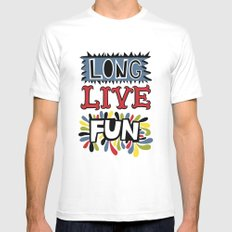 Long Live Fun MEDIUM White Mens Fitted Tee