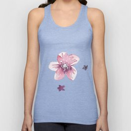 Lilac Pink Watercolour Fiordland Flower Unisex Tank Top