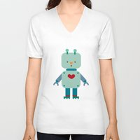 robot V-neck T-shirts featuring Robot by Milanesa