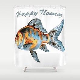 Happy Nowruz Shubunkin Goldfish Persian New Year Shower Curtain