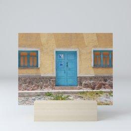 Bolivia door 7 blue on yellow Mini Art Print