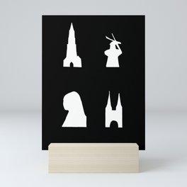 Delft silhouette on black Mini Art Print