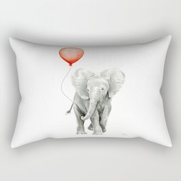 Baby Elephant Watercolor Red Balloon Nursery Decor Rectangular Pillow
