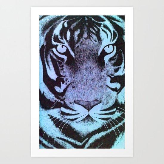Be a Tiger (Blue) Art Print