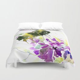 Bumblebee and Flowers Duvet Cover