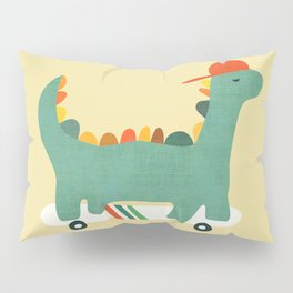 Dinosaur on retro skateboard Pillow Sham