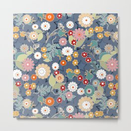 Colorful flowers on a denim background. Metal Print