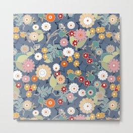 Colorful flowers retro cartoon floral design denim background Metal Print