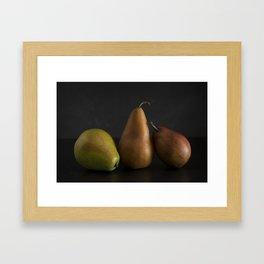 Still LIfe of Fresh Pears on a Dark Surface Framed Art Print