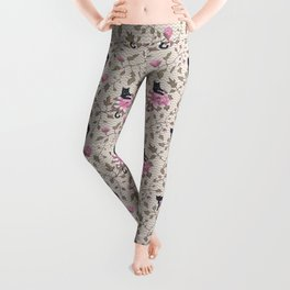 Cats and flowers on beige background Leggings