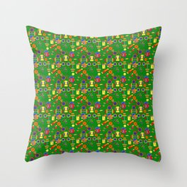 Retro & Fun Green Sports / Fitness, Colorful Rainbow Orange, Red, Yellow Bike Weights Jumpropes Throw Pillow