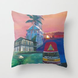 Key West Florida Southernmost Dreams Retro Travel Vintage Poster Throw Pillow