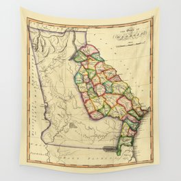 The State of Georgia Map (circa 1810) Wall Tapestry